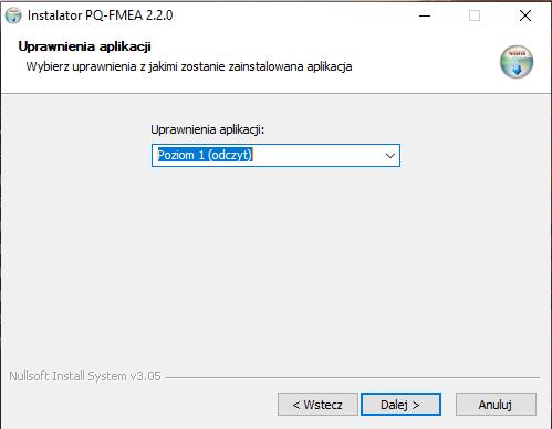 Wygląd struktury dostępów w programie PQ-FMEA+