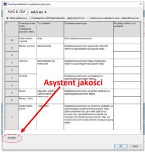 Asystent jakości w programie PQ-FMEA (tabela OCC i DET)