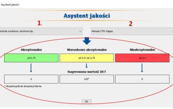 Asystent jakości w DET – podpowiedź na podstawie typu i metody kontroli